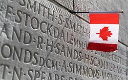 25.06.2016, Vimy, FRA, das kanadische Denkmal von Vimy, im Bild Kanadische Fahne in der Wand der Gefallenen. Zwei weiße Türme dominieren die Ebene von Lens und erinnern an die Schlacht von Vimy, die im April 1917 stattfand // The Canadian National Vimy Memorial is a memorial site dedicated to the memory of Canadian Expeditionary Force members killed during the First World War at Vimy, France on 2016/06/25. EXPA Pictures © 2016, PhotoCredit: EXPA/ JFK