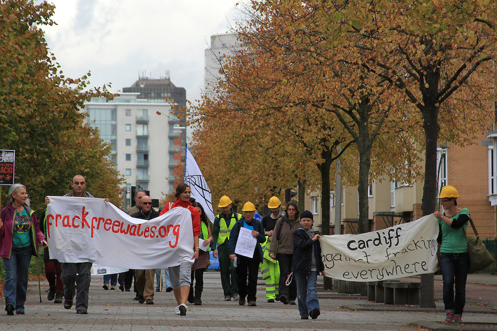 Frack Free Wales protest, Cardiff. Campaigners marched to Y Senedd (National Assembly) to call for a moratorium on fracking