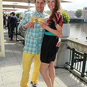 NLD/Amsterdam/20130530 - Talkies Terras Award 2013, Koert Jan de Bruijn en partner Charlotte Huiskamp