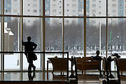 Moscow, Russia, 04/01/2004..Customers at the luxurious but largely deserted Crocus City shopping mall.