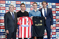 Atletico de Madrid's new players Santos Borre (c-l) and Diogo Jota (c-r) during their official presentation with the President Enrique Cerezo (l) and the General Manager Jose Luis Perez Caminero. July 14, 2016. (ALTERPHOTOS/Acero)