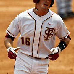 June 06, 2011; Tallahassee, FL, USA; Florida State Seminoles first baseman Jayce Boyd rounds second after hitting a two run homerun during the eighth inning of the Tallahassee regional of the 2011 NCAA baseball tournament game against the Alabama Crimson Tide as play resumed following the suspension of play due to severe weather last night at Dick Howser Stadium. Florida State defeated Alabama 11-1 to advance to a super regional.  Mandatory Credit: Derick E. Hingle