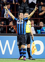 Milano, 05/04/2011<br /> Champions League/Inter-Schalke 04<br /> Gol Inter: Stankovic esulta