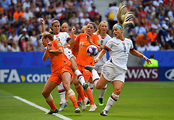 USA - Netherlands, final, Stade de Lyon: Kelley O'Hara from the USA (l) in duel with Lieke Martens from the Netherlands. FIFA Women's World Cup Final in Lyon, France, on July 07, 2019.Photo by Christian Liewig/ABACAPRESS.COM
