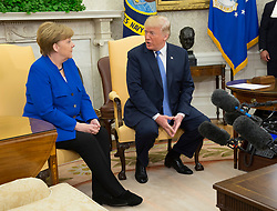 Trump Welcomes Merkel of Germany to the White House. 27 Apr 2018 Pictured: United States President Donald J. Trump & Chancellor Angela Merkel of Germany. Photo credit: RS/CNP/MPI/Capital Pictures / MEGA TheMegaAgency.com +1 888 505 6342