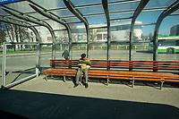 Bialystok, 23.03.2020. Pustki na ulicach Bialegostku podczas epidemii koronawirusa N/z pusty przystanek autobusowy fot Michal Kosc / AGENCJA WSCHOD