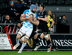 Leinster's Scott Fardy under pressure from Ospreys' Bradley Davies<br /> <br /> Photographer Simon King/Replay Images<br /> <br /> Guinness PRO14 Round 19 - Ospreys v Leinster - Saturday 24th March 2018 - Liberty Stadium - Swansea<br /> <br /> World Copyright © Replay Images . All rights reserved. info@replayimages.co.uk - http://replayimages.co.uk