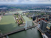 Nederland, Zuid-Holland, Rotterdam, 14-05-2020; Noordereiland in de Nieuwe Maas en Erasmusbrug. Rechts gebouw De Rotterdam op Wilhelminakade (Kop van Zuid).<br /> Noordereiland in the Nieuwe Maas and Erasmus Bridge. On the right building De Rotterdam on Wilhelminakade (Kop van Zuid).<br /> <br /> luchtfoto (toeslag op standard tarieven);<br /> aerial photo (additional fee required)<br /> copyright © 2020 foto/photo Siebe Swart