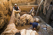 Men clean sheep skins at the Berber leather tannery in Fes El-Bali, Morocco.