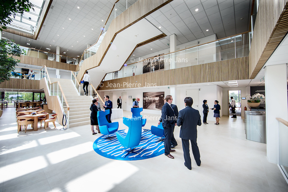 Nederland, Almere, 14 juli 2016.<br /> Opening Arison Maritime Center Almere<br /> Op de foto: Ontvangstruimte bij binnenkomst begane grond.<br /> <br /> Carnival Corporation opens Arison Maritime Center for world-class safety training.<br /> <br /> Foto: Jean-Pierre Jans