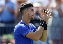 Australia's Thanasi Kokkinakis celebrates victory during day two of the 2017 AEGON Championships at The Queen's Club, London.