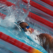 Oussama Mellouli, Tunisia, in action in the Men's 800m Freestyle heats at the World Swimming Championships in Rome on Tuesday, July 28, 2009. Photo Tim Clayton.
