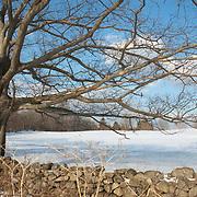 Stone fence in winter at Appleton Farms & Grass Rides, Hamilton, MA