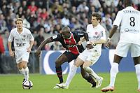 FOOTBALL - FRENCH CHAMPIONSHIP 2011/2012 - L1 - PARIS SAINT GERMAIN v DIJON FCO  - 23/10/2011 - PHOTO JEAN MARIE HERVIO / DPPI - MOHAMED SISSOKO (PSG) / BENJAMIN CORGNET (DIJ)