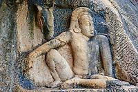 Sri Lanka, province du Centre-Nord, site d'Anuradhapura classé Patrimoine Mondial de l'UNESCO, capitale du Sri Lanka au IIIe siècle avant JC, Isurumuniya Vihara, temple rupestre, bas reliefs, guerrier au repos et son cheval // Sri Lanka, Ceylon, North Central Province, Anuradhapura, historic capital of Sri Lanka, UNESCO World Heritage Site, Isurumuniya Vihara temple, warrior with his horse carving