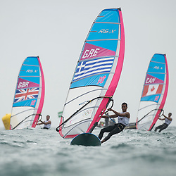 31.07.2012, Bucht von Weymouth, GBR, Olympia 2012, Windsurfen, im Bild RS:X Men, Kokalanis Byron (GRE), Plavsic Zachary (CAN), Dempsey Nick (GBR) . EXPA Pictures © 2012, PhotoCredit: EXPA/ Juerg Kaufmann ***** ATTENTION for AUT, CRO, GER, FIN, NOR, NED, POL, SLO and SWE ONLY!