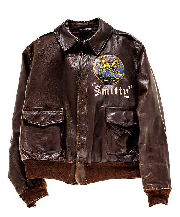 A-2 bomber jacket that belonged to WWII veteran Frederick G. Smith, of the 100th Bomb Group, 351st Bomb Squadron.