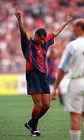 Rivaldo celebrates scoring a goal for Barcelona. Barcelona v Lazio. The Amsterdam Tournament. Amsterdam Arena, 5/8/2000. Credit: Colorsport / Stuart MacFarlane.