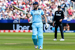 Jonny Bairstow of England celebrates reaching 50 - Mandatory by-line: Robbie Stephenson/JMP - 03/07/2019 - CRICKET - Emirates Riverside - Chester-le-Street, England - England v New Zealand - ICC Cricket World Cup 2019 - Group Stage