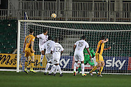 Ben Tozer of Newport county ® heads and he scores his teams 1st goal.  EFL Skybet football league two match, Newport county v Barnet at Rodney Parade in Newport, South Wales on Tuesday 25th October 2016.<br /> pic by Andrew Orchard, Andrew Orchard sports photography.