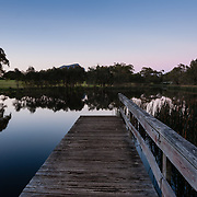 Jetty at Dunkeld arboretum at the southern gateway to Grampians Mountain Range