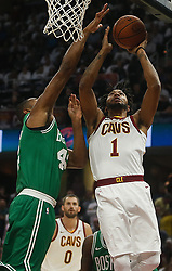 October 17, 2017 - Cleveland, OH, USA - The Cleveland Cavaliers' Derrick Rose (1) puts the ball up on the Boston Celtics' Al Horford in the first quarter on Tuesday, Oct. 17, 2017, at Quicken Loans Arena in Cleveland. (Credit Image: © Leah Klafczynski/TNS via ZUMA Wire)
