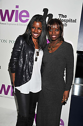 Left to right, JUNE SARPONG and  at the annual WIE (Women: inspiration and enterprise) Awards held after the WIE Symposium... A day of inspirational talks by thought leaders and opinion formers to give young women the tools to succeed in business and life held at The Hospital Club, Endell Street, London on 8th March 2012.