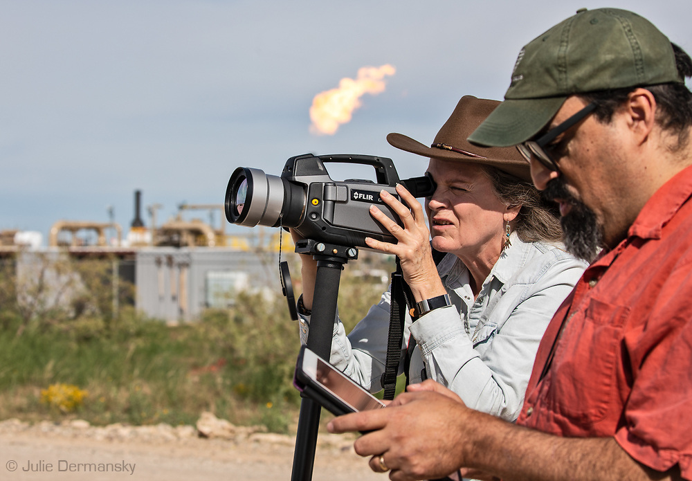 Sharon Wilson, and Alan Septoff with Earthworks,  in the Permian Basin monittering fracking industry sites.
