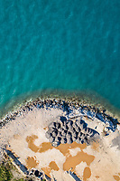 Aerial view of public works on the coast.