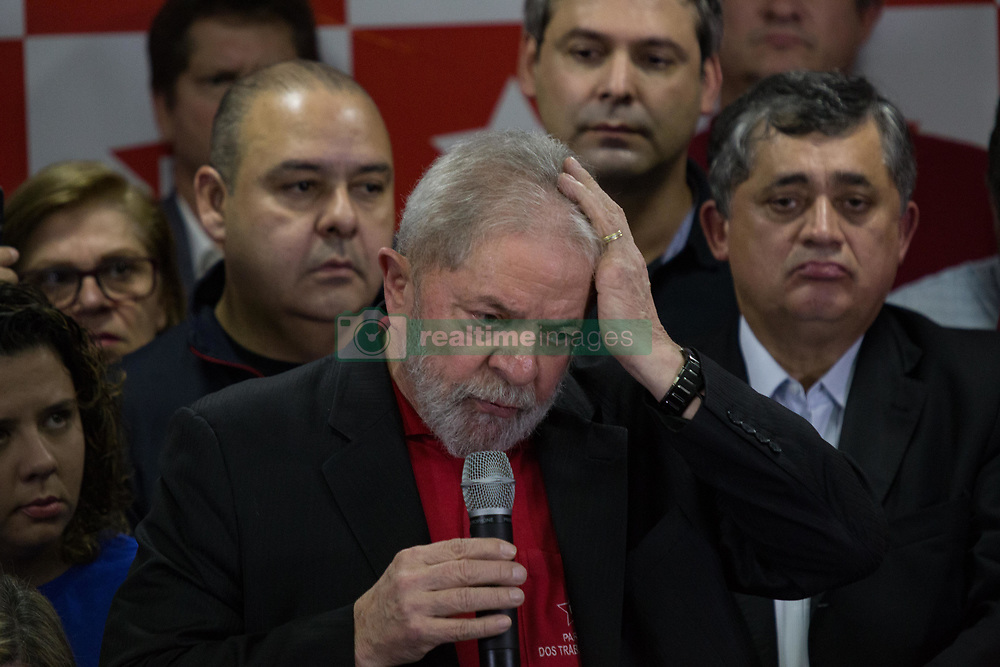 July 13, 2017 - Sao Paulo, Sao Paulo, Brazil - Former President of Brazil, LUIZ INACIO LULA DA SILVA, gives a press conference at the headquarters of the Workers' Party in Sao Paulo, after being sentenced to nine years and six months in prison for corruption and money-laundering charges. (Credit Image: © Paulo Lopes via ZUMA Wire)