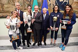 DA SX GIULIA LEONARDI GIOVANNI MALAGO' FRANCESCA PICCININI BRUNO CATTANEO  MAURO FABRIS SERENA ORTOLANI E VALENTINA TIROZZI<br /> PALLAVOLO CELEBRAZIONE COPPE EUROPEE VOLLEY 2018-2019 VINTE DALLE SQUADRE ITALIANE A PALAZZO CHIGI A ROMA<br /> ROMA 22-05-2019<br /> FOTO FILIPPO RUBIN