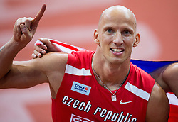 Third placed Petr Svoboda of Czech Republic celebrates after the 60m Hurdles Men Final on day one of the 2017 European Athletics Indoor Championships at the Kombank Arena on March 3, 2017 in Belgrade, Serbia. Photo by Vid Ponikvar / Sportida