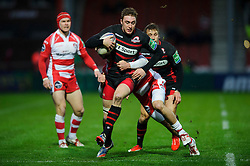 Edinburgh Winger (#14) Dougie Fife is tackled by Gloucester Winger (#11) Jonny May during the first half of the match - Photo mandatory by-line: Rogan Thomson/JMP - Tel: 07966 386802 - 15/12/2013 - SPORT - RUGBY UNION - Kingsholm Stadium, Gloucester - Gloucester Rugby v Edinburgh Rugby - Heineken Cup Round 4.