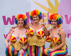 Pictured: Moonwalk Scotland, Edinburgh, Scotland, United Kingdom, 08 June 2019. The 14th Moonwalk Scotland 'Walk the Walk' night-time event with several thousand participants wearing specially decorated bras choose between New Moon (6.55 Miles), Half Moon Marathon (13.1 Miles), Full Moon Marathon (26.2 miles) and Over The Moon (52.4 Miles) to raise money  and awareness for breast cancer causes. Gail, Sasha and Abby, Moonwalk participants.<br /> <br /> Sally Anderson   EdinburghElitemedia.co.uk