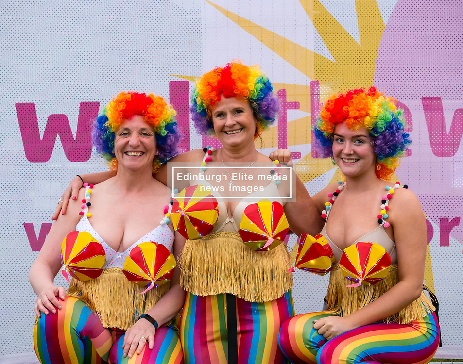 Pictured: Moonwalk Scotland, Edinburgh, Scotland, United Kingdom, 08 June 2019. The 14th Moonwalk Scotland 'Walk the Walk' night-time event with several thousand participants wearing specially decorated bras choose between New Moon (6.55 Miles), Half Moon Marathon (13.1 Miles), Full Moon Marathon (26.2 miles) and Over The Moon (52.4 Miles) to raise money  and awareness for breast cancer causes. Gail, Sasha and Abby, Moonwalk participants.<br /> <br /> Sally Anderson | EdinburghElitemedia.co.uk