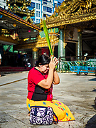 18 NOVEMBER 2017 - YANGON, MYANMAR: A woman prays at Sule Pagoda in central Yangon. Pope Francis is visiting Myanmar, September 27-30. It will be the first visit by a Pope to the overwhelmingly Buddhist nation. He will meet with the Aung San Suu Kyi and other political leaders and will participate in two masses in Yangon. The Pope is expected to talk about Rohingya issue while he is in Myanmar. The Rohingya are persecuted Muslim minority in Rakhine state in western Myanmar. It's not clear how Myanmar's politically powerful nationalist monks will react if the Pope openly talks about the Rohingya. In the past, the monks have led marches and demonstrations against foreign diplomatic missions when foreign ambassadors have spoken in defense of the Rohingya. There is not much visible sign of the Pope's imminent visit in Yangon, which is estimated to be more than 90% Buddhist.    PHOTO BY JACK KURTZ