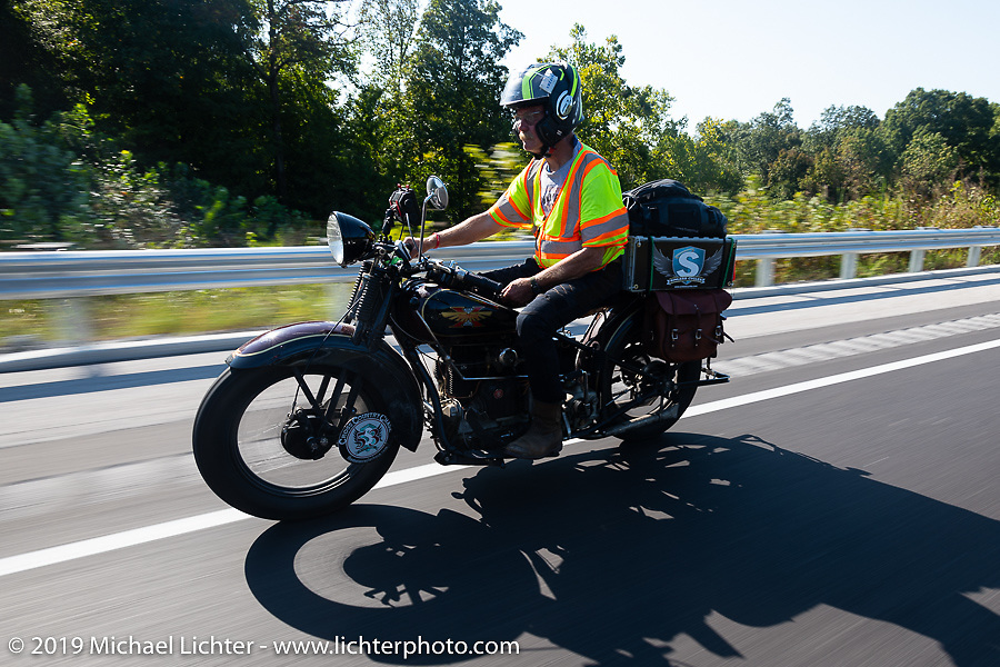 Bryan Bossier Sr riding his 1930 Henderson 4-cylinder KL in the Cross Country Chase motorcycle endurance run from Sault Sainte Marie, MI to Key West, FL (for vintage bikes from 1930-1948). Stage 4 saw a 315 mile ride from Urbana, IL to Bowling Green, KY USA. Monday, September 9, 2019. Photography ©2019 Michael Lichter.