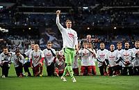 Schlussjubel Torwart Manuel Neuer (Bayern)<br /> Fussball Champions League, Halbfinale Rueckspiel, Real Madrid - FC Bayern Muenchen 3:4 n. E.