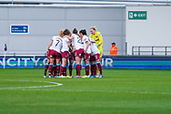 West Ham United Women huddle during the FA Women's Super League match between Manchester City Women and West Ham United Women at the Sport City Academy Stadium, Manchester, United Kingdom on 17 November 2019.