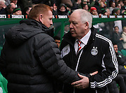 16.03.2013 Glasgow, Scotland.   Neil Lennon greets Craig Brown before the Clydesdale Bank Premier League match between, Celtic and Aberdeen, from Celtic Park Stadium.