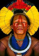 Kayapo Menorony-re or Warrior, Kapoto Village, Para, Brazil. Similar to the East African Maasai and Samburu tribes, there is a warrior age-grade in Kayapo culture. These handsome, energetic young men do everything together--paint each other, dance and sing, hunt and eat. They are free spirits able to come and go as they please. <br />