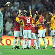 Galatasaray's Milan BAROS (2ndL) celebrate his goal with team mate during their Friendly soccer match Galatasaray between Liverpool at the TT Arena at Arslantepe in Istanbul Turkey on Saturday 28 July 2011. Photo by TURKPIX