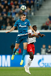 November 4, 2019, Saint Petersburg, USA: SAINT PETERSBURG, RUSSIA - NOVEMBER 05: forward Artyom Dzyuba of FC Zenit and defender Dayot Upamecano of RB Leipzig vie for the ball during UEFA Champions League match FC Leipzig at FC Zenit on November 05, 2019, at Saint Petersburg Stadium in Saint Petersburg, Russia. (Photo by Anatoliy Medved/Icon Sportswire) (Credit Image: © Anatoliy Medved/Icon SMI via ZUMA Press)