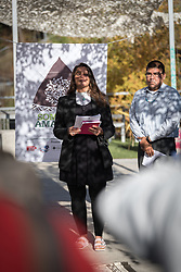 7 December 2019, Madrid, Spain: Neddy Astudillo from GreenFaith,  USA, leads a word of prayer, as people of faith gather in a 'Prayer for the Rainforest' as part of the Cumbre Social por el Clima, on the fringes of COP25 in Madrid, where faith-based organizations continue to urge decision-makers to take action for climate justice.