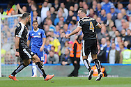 Daniel Drinkwater of Leicester City (4) celebrates after scoring his sides 1st goal to make it 1-1 with Danny Simpson of Leicester City. Barclays Premier league match, Chelsea v Leicester city at Stamford Bridge in London on Sunday 15th May 2016.<br /> pic by John Patrick Fletcher, Andrew Orchard sports photography.