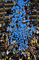 Fans wanting baloons at  match for 3rd place of CEV Indesit Champions League FINAL FOUR tournament between PGE Skra Belchatow, POL and ACH Volley Bled, SLO on May 2, 2010, at Arena Atlas, Lodz, Poland. Belchatow defeated ACH 3-1. (Photo by Vid Ponikvar / Sportida)