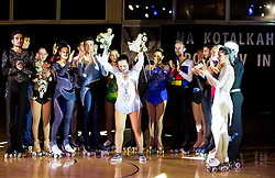 Lucija Mlinaric and her friends during special artistic roller skating event when Lucija Mlinaric of Slovenia, World and European Champion ended her successful sports career, on November 7, 2015 in Rence, Slovenia. Photo by Vid Ponikvar / Sportida