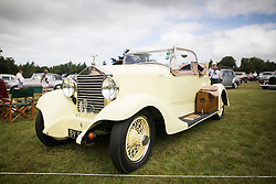 © Licensed to London News Pictures. 07/08/2016. Leeds UK. Picture shows a Yellow 20 BHP 3 ltr 1923 Rolls Royce at the 37th Rolls Royce North rally that has taken place this weekend in the ground's of Harewood House in Yorkshire. The event bring's together some of the UK's most prized motor cars & their proud owners. Photo credit: Andrew McCaren/LNP
