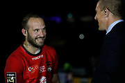 Frederic Michalak of Lyon and Imanol Harinordoquy Canal+ during the French championship Top 14 Rugby Union semi-final match between Montpellier v Lyon OU on May 25, 2018 at Groupama stadium in Lyon, France - Photo Romain Biard / Isports / ProSportsImages / DPPI