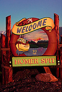 Welcome sign at the Homer Spit